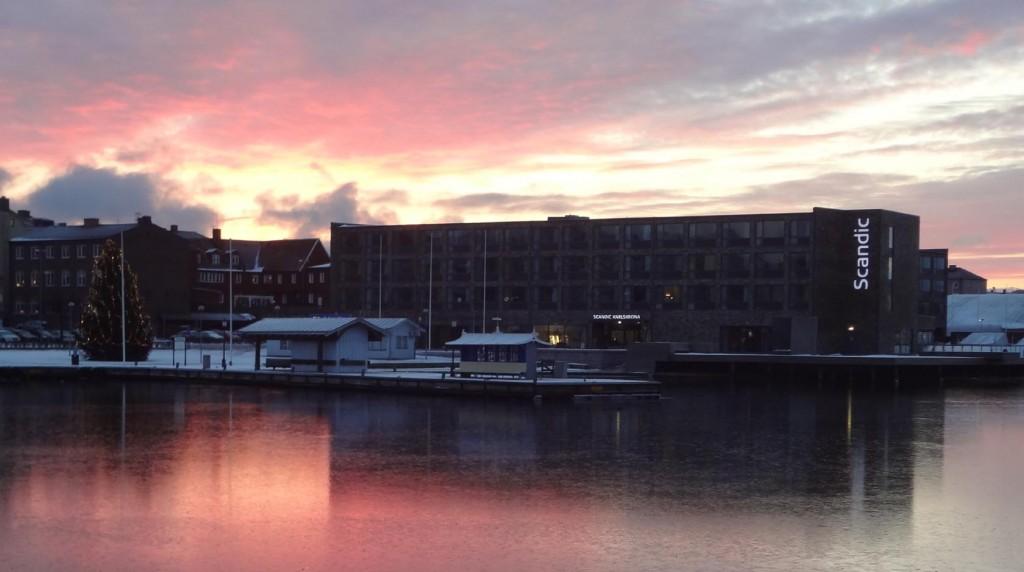 Dagens solnedgång vid Borgmästarefjärden