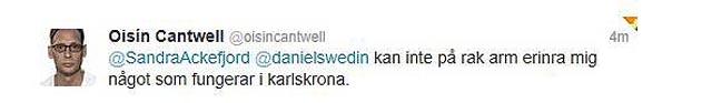 Oisin Cantwell om Karlskrona