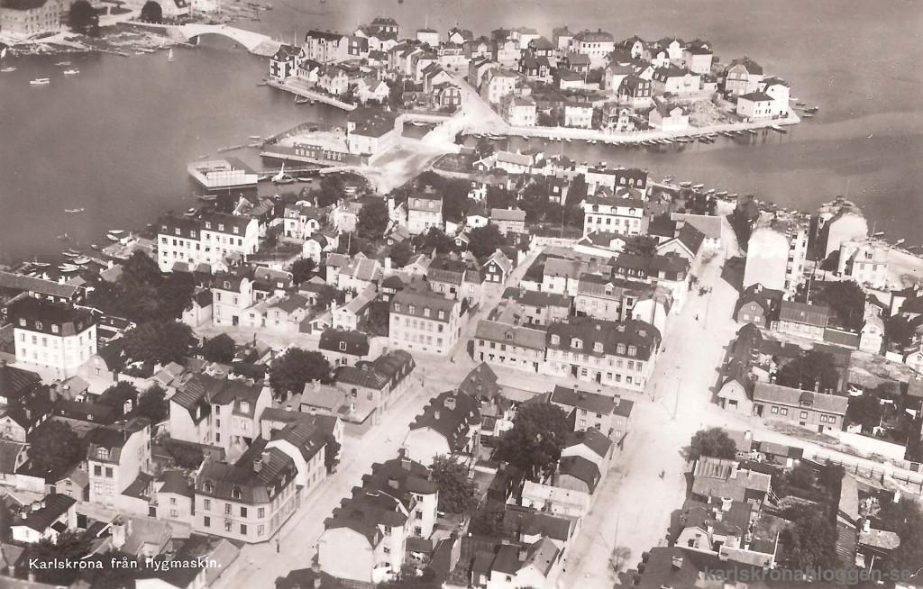 Karlskrona från flygmaskin
