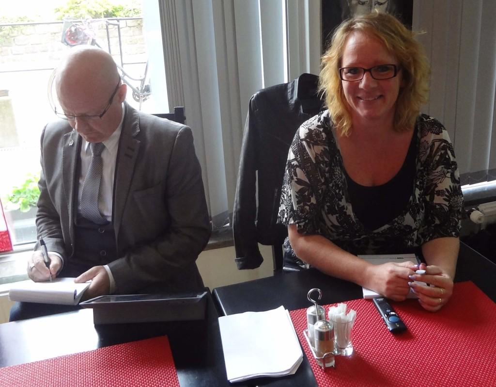 Stefan Olsson och Carina Herrstedt innan föreläsningarna på Restaurang Touch i Karlskrona