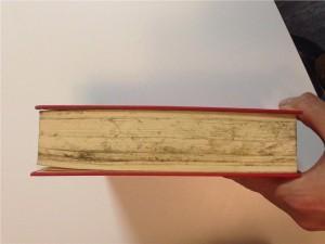 den råkat ut för en kastolycka vilket lett till att en del sidor är lite smutsiga.