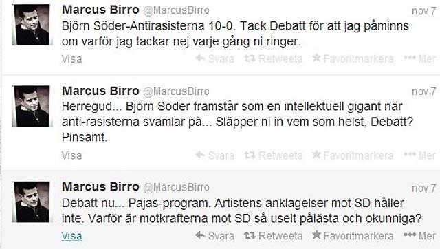 Marcus Birro reagerar