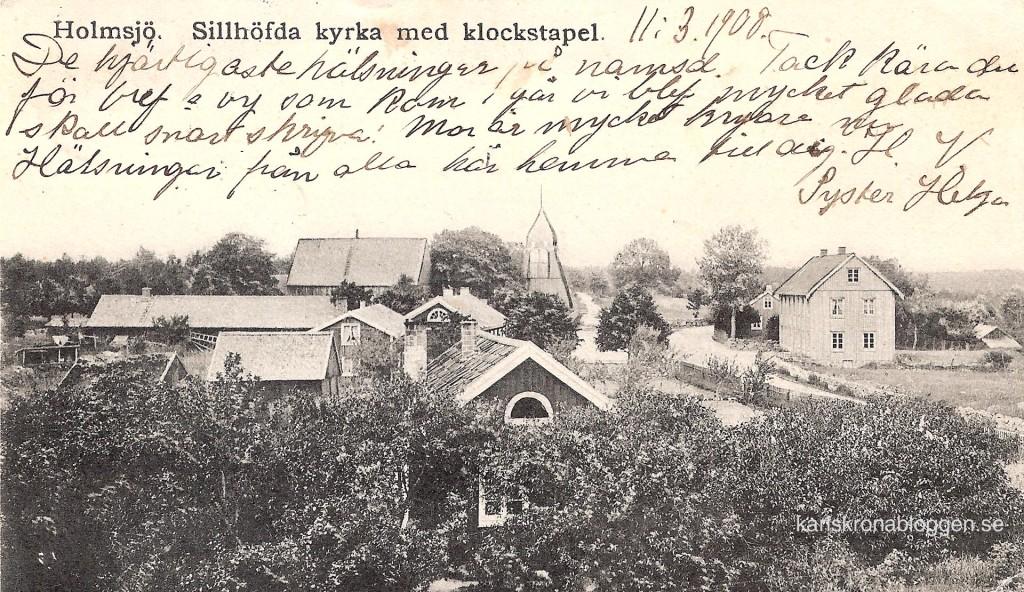 Sillhövda kyrka och klockstapel 1908