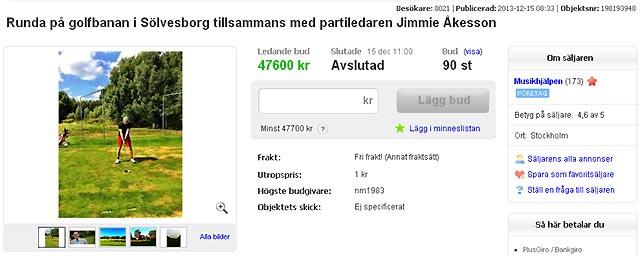 Golfrundan med Jimmie kostade 47 600 kronor!