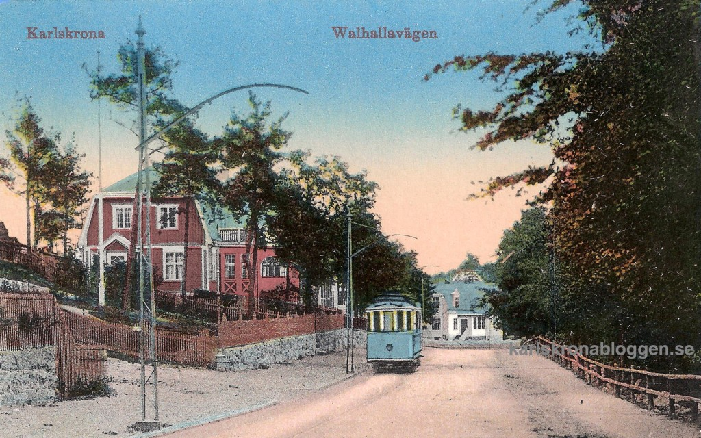 Valhallavägen med spårvagn cirka 1915