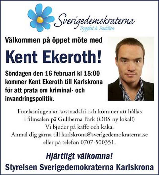 Kent Ekeroth till Karlskrona!
