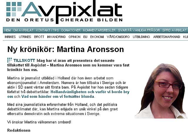 Martina Aronsson blir ny krönikör på Avpixlat