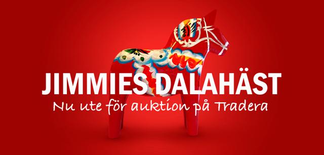 Jimmie Åkessons egenhändigt målade dalahäst är nu till salu på Tradera!