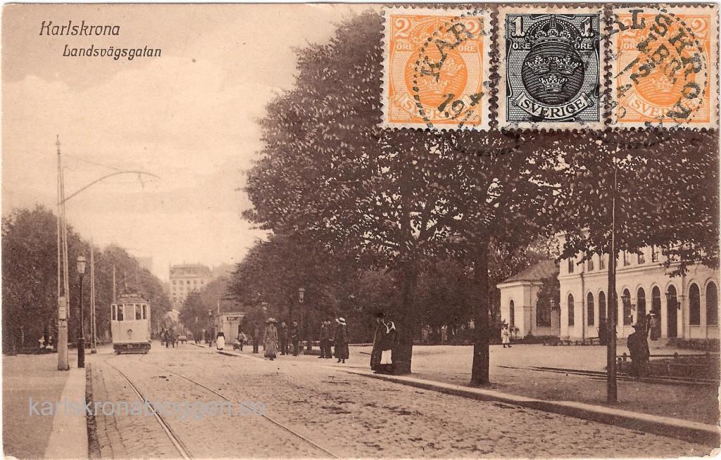 Landsvägsgatan i Karlskrona 1913