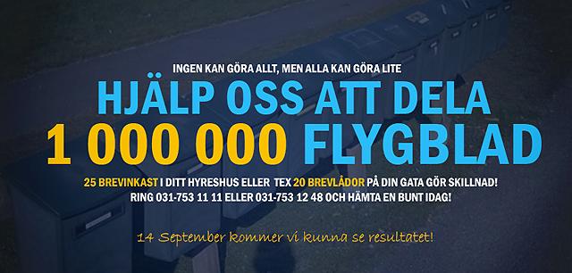 Sverigedemokraterna Göteborg ska dela ut en miljon flygblad innan den 14 september