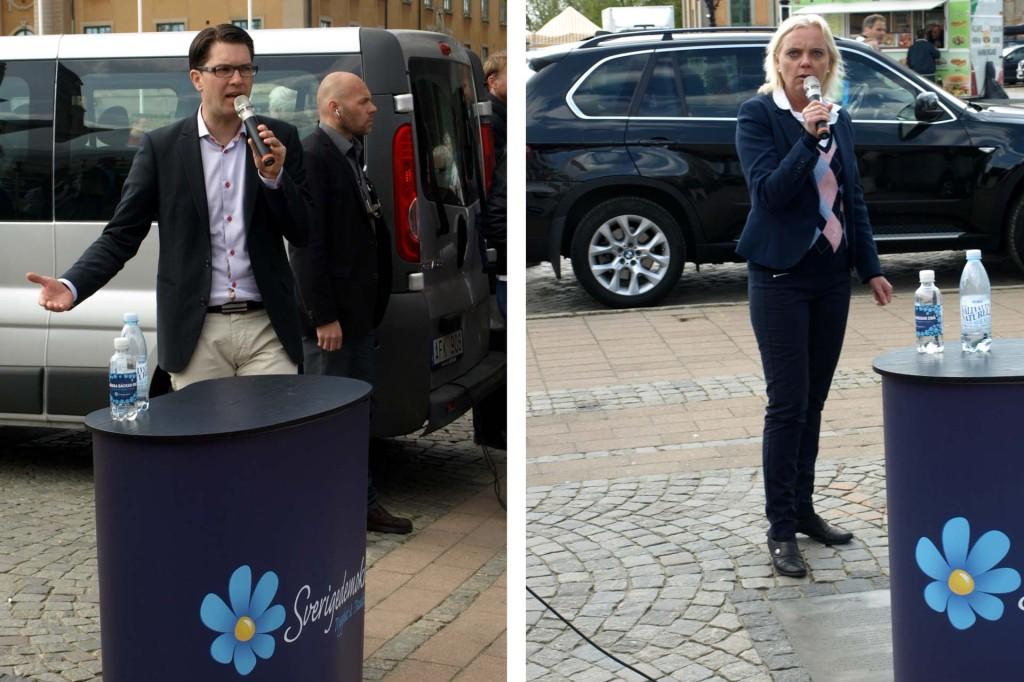 Jimmie Åkesson och Kristina Winberg talar på Stortorget i Karlskrona den 2 maj 2014