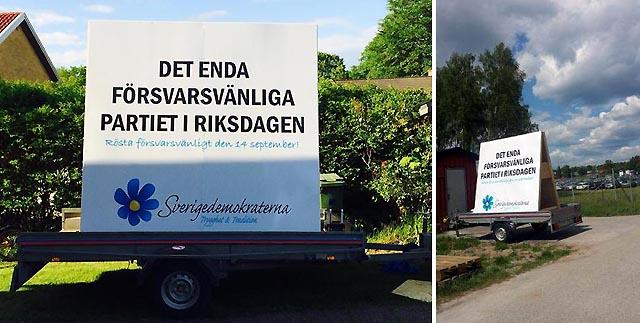 Mycket bra exponering för Sverigedemokraterna på F17:s Flygdag 2014