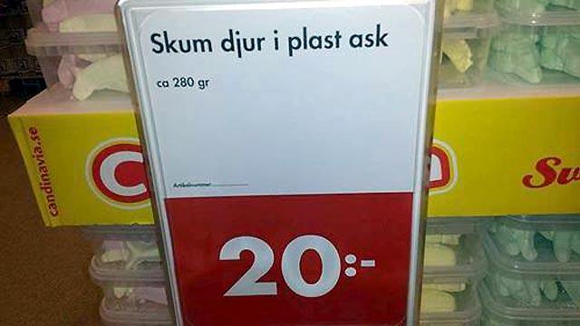"""Skum djur i plast ask"""