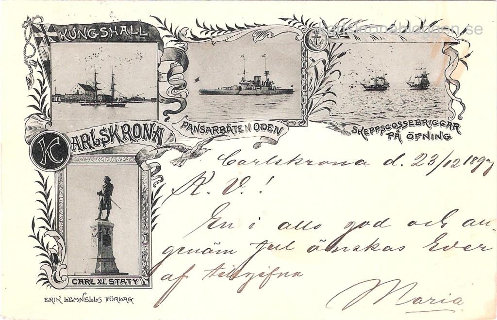 Hälsning från Karlskrona år 1899