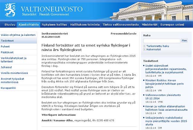 Finland beräknas ta emot 750 flyktingar under 2015