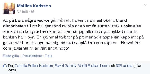 Mattias Karlsson på Facebook