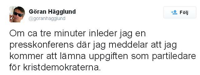 Göran Hägglund (KD) avgår