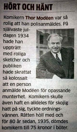 """Thor Modéen fick böter för """"opassande munterhet"""" år 1935"""