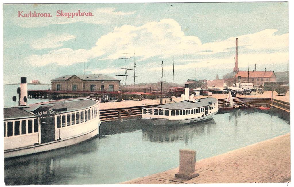 Skeppsbron i färg kring 1910