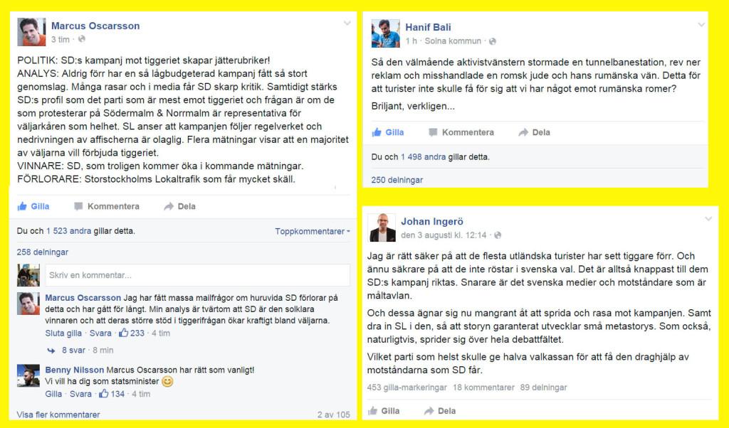 Bali, Oscarsson och Ingerö kommenterar Sverigedemokraternas reklamkampanj