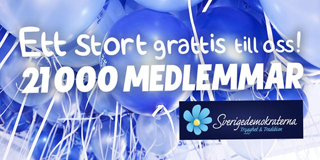 Sverigedemokraterna nådde idag 21 000 medlemmar