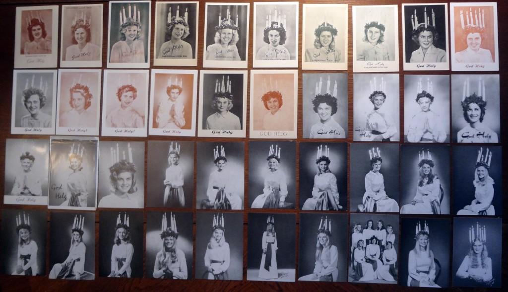 """Det drar ihop sig till luciafirande på söndag och därför passar det bra med en bild på 40 av Karlskronas officiella lucior åren 1941-1980. (Översta raden 1941-50, andra raden 1951-60, tredje raden 1961-70 och nederst 1971-80). Säkert känner de flesta """"kaulskroniter"""" någon, eller ännu troligare, flera av nedanstående damer som hade den stora äran att representera Karlskrona som stadens lucior under åren 1941-1980."""