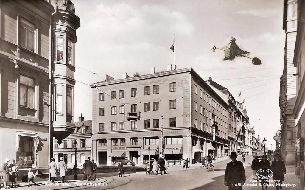 Påskgumma över Karlskrona på sin väg till Blåkulla