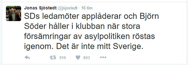 Jonas Sjöstedt (V) på Twitter