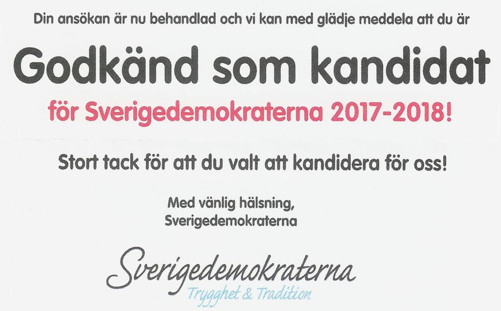 Godkänd som kandidat för Sverigedemokraterna 2017-2018