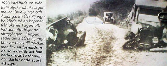 Bilolycka i Skånes Fagerhult 1928 mellan Örkelljunga och Åsljunga
