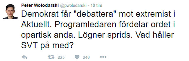 Peter Wolodarski på DN gillade ej detta inslag i SVT Aktuellt
