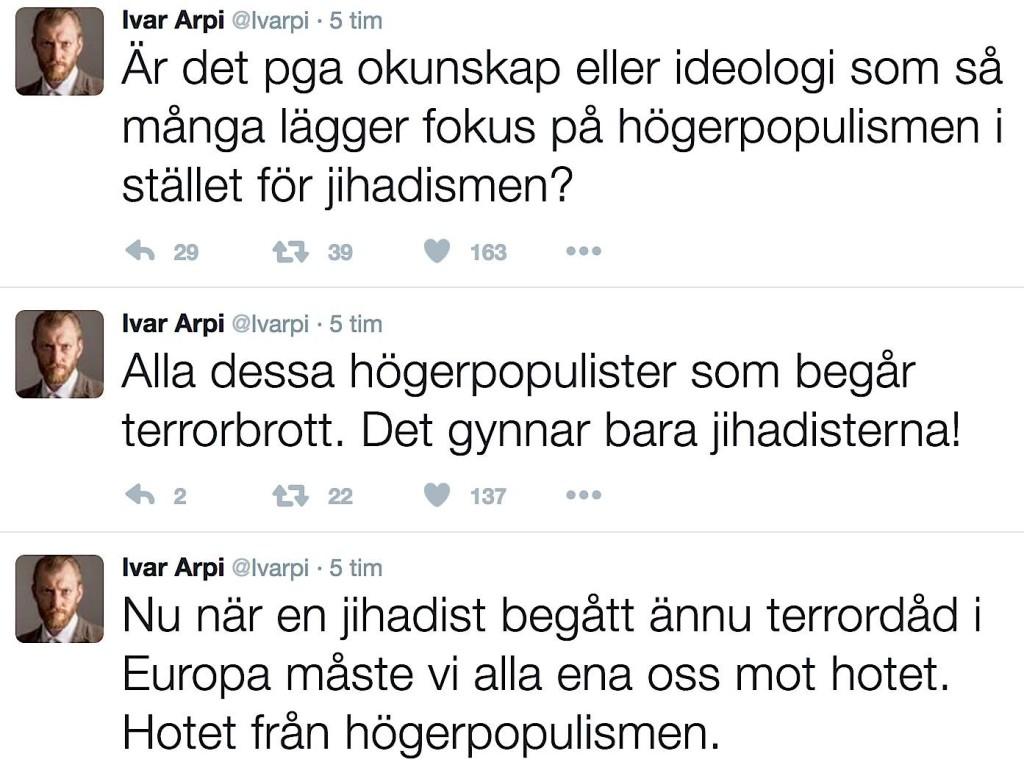 Ivar Arpi ironiserar
