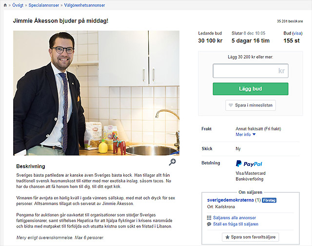 Äta middag hos Jimmie Åkesson (SD)?