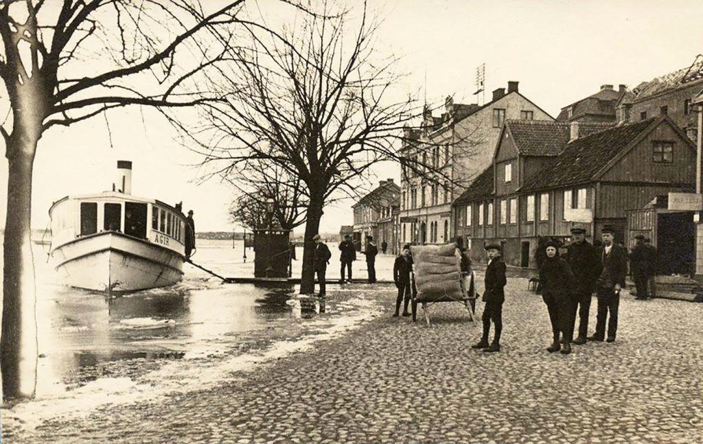 Översvämning vid Borgmästarekajen för 100 år sedan
