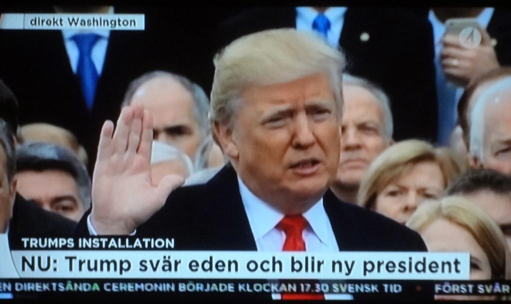 Donald Trump svär presidenteden som USA:s 45:e president den 20 januari 2017