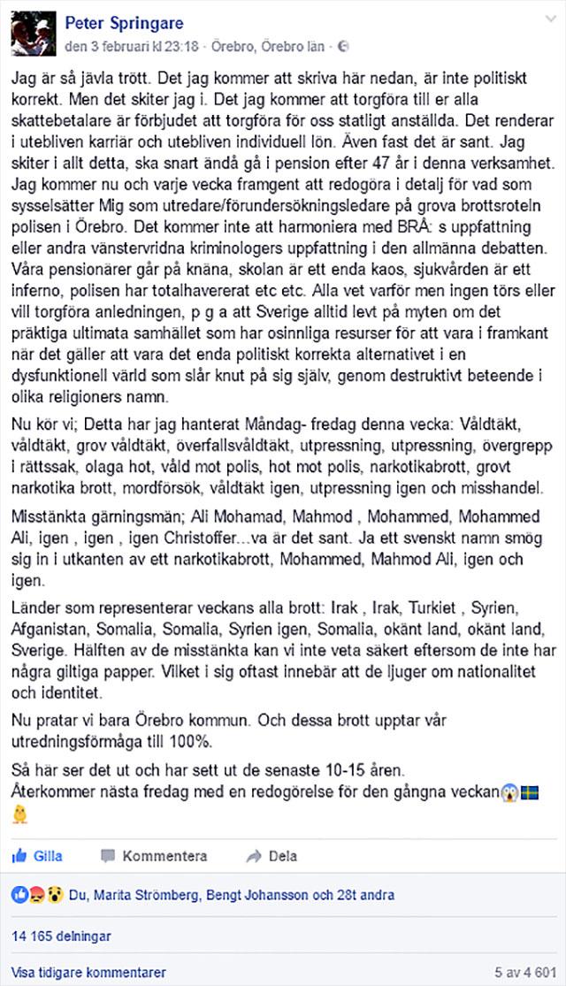 Polisen Peter Springare i Örebro - En Svensk Hjälte?