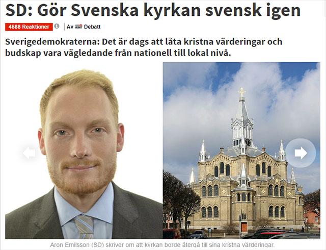 Aron Emilsson (SD): Gör svenska kyrkan svensk igen