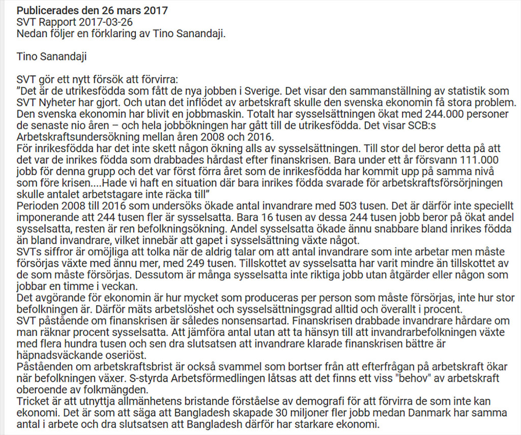 Tino Sanandaji sågar SVT:s lögner