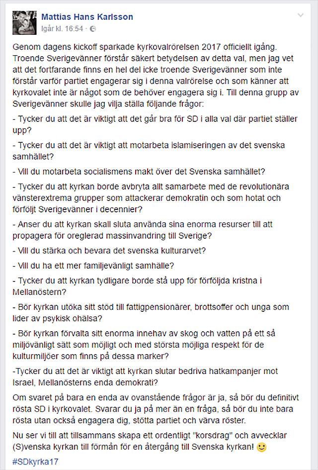 Mattias Karlsson förklarar om Kyrkoval 2017