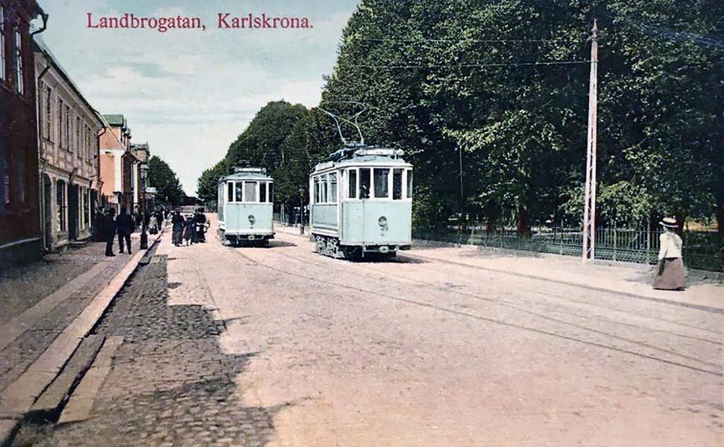Spårvagnar på Landbrogatan
