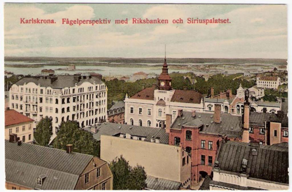 Fågelperspektiv med Riksbanken och Siriuspalatset