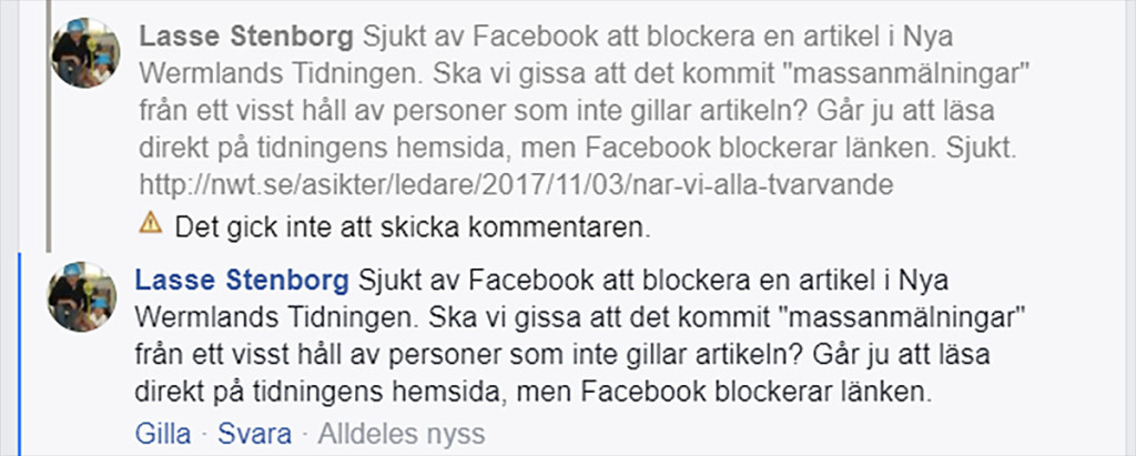Censuren på Facebook ökar