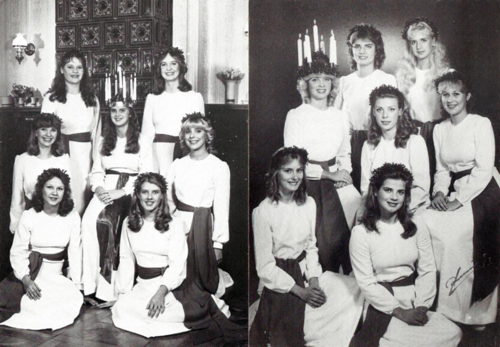 Här kommer två senare vykort med både Lucia och tärnor, till vänster 1981 och till höger 1983. Enligt noteringar hette luciorna Ann-Sofi Svensson 1981 och AnnaCarin Gustavsson 1983. Känner igen flera av tärnorna, men minns tyvärr inga namn!