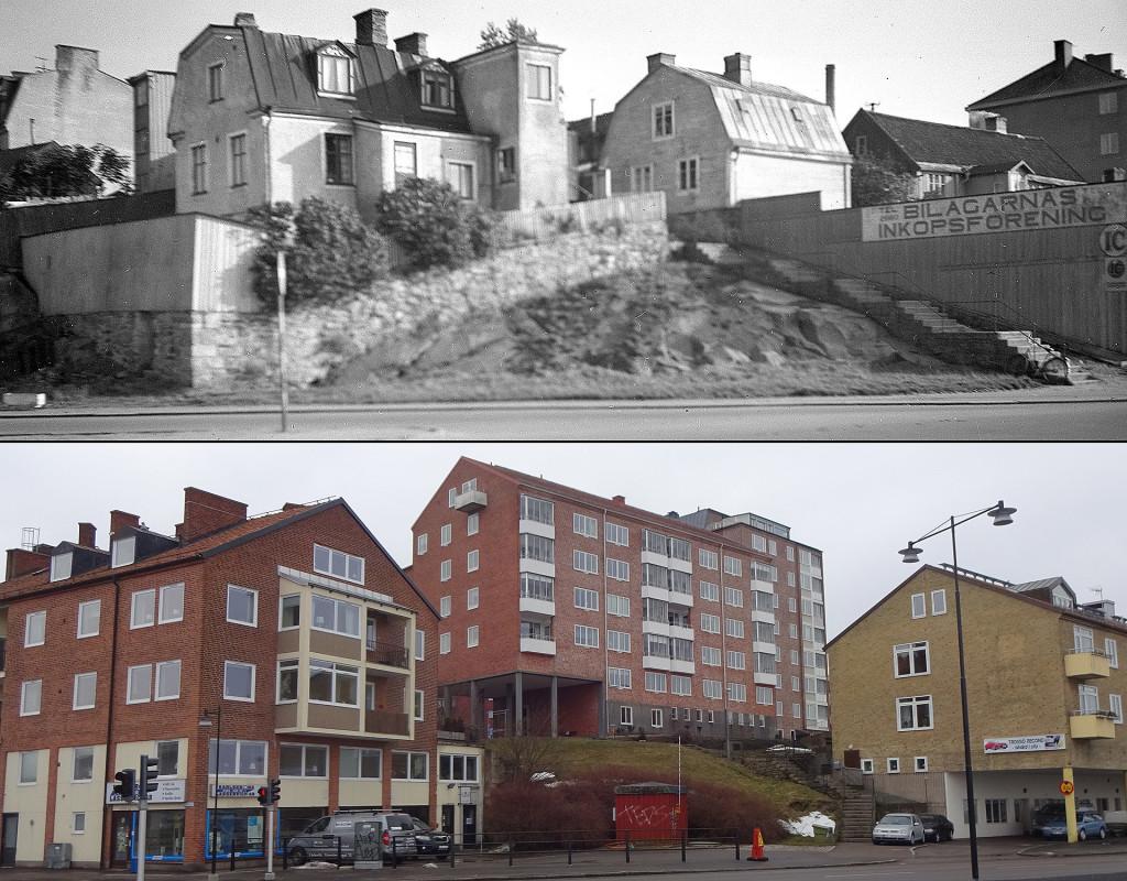 Norra Möllebacksgränd från Borgmästarekajen då och nu