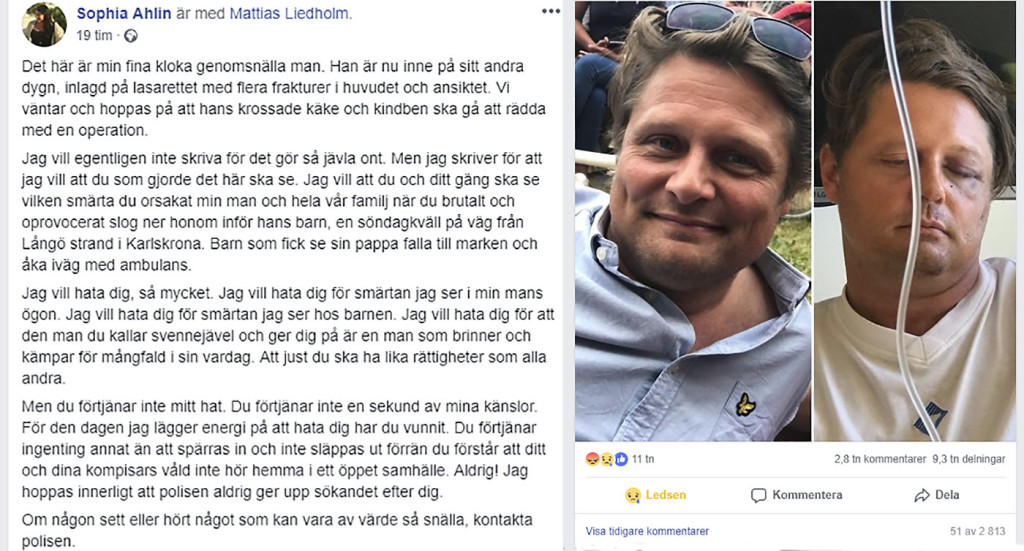 Karlskronaprofil misshandlad