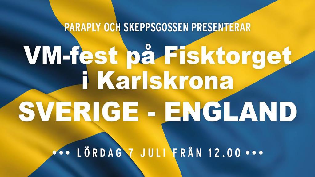 VM-fotboll Sverige-England på Fisktorget lördagen den 7 juli 2018