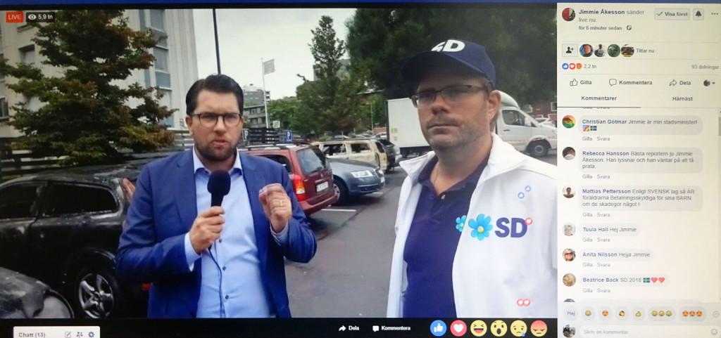 Jimmie Åkesson och Jörgen Fogelklou pratar om bilbränderna i Göteborg
