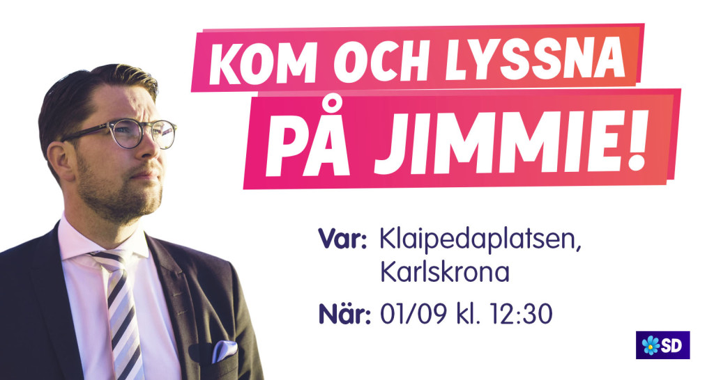 Jimmie kommer till Karlskrona lördagen den 1 september 2018