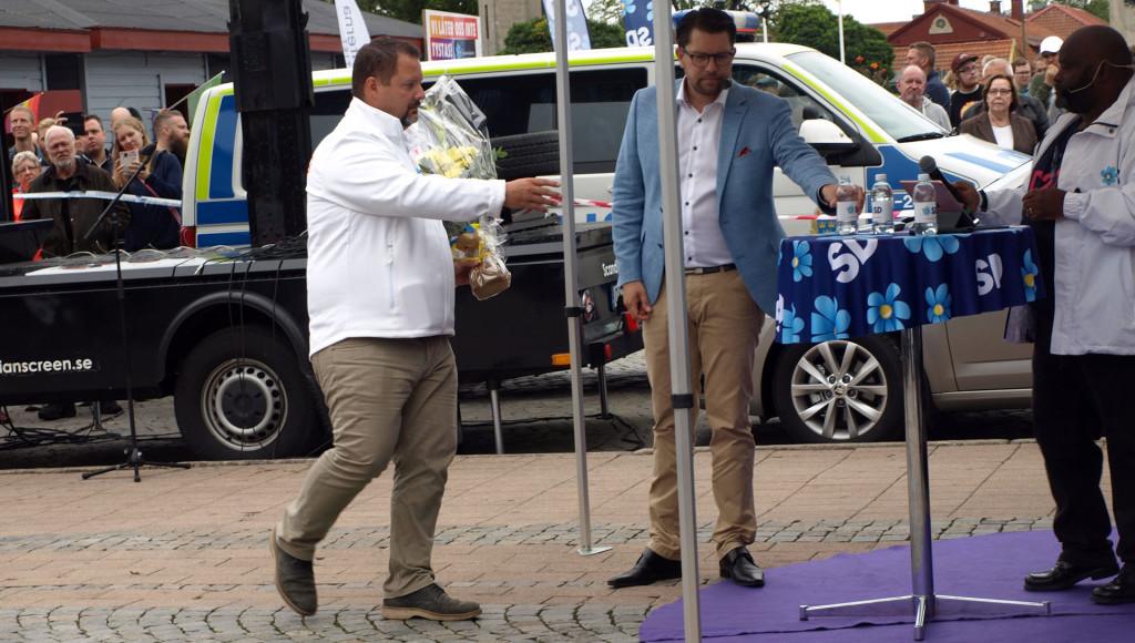 Folkfest vid Jimmies Åkessons besök i Karlskrona den 1 september 2018