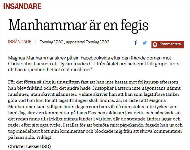 Bra insändare av Christer Leksell, SD Karlskrona.